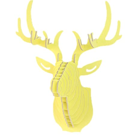 Home Decor DIY 3D Cut Wooden Puzzle Kit Deer Head Wall Mounted Sculpture Modern Animal Head Wood Wall Hanging (Yellow)