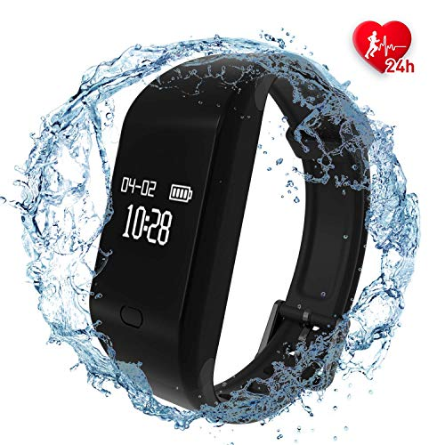 Fitpolo Health Fitness Tracker HR - Heart Rate Monitor Wristband,IP67 Waterproof Smart Bracelet with Sleep Monitor, Step Counter, Calorie Counter, Pedometer for Kids Women Men (Black)
