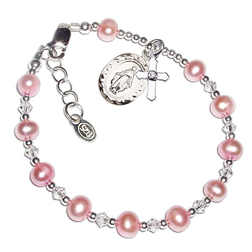 Precious Pieces Children's Sterling Silver Communion Rosary Bracelet with Pink Cultured Pearl and Crystal ()
