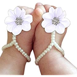DZT1968® Baby Girl Pearl Chiffon Foot Flower Shoes Barefoot Sandals (White)