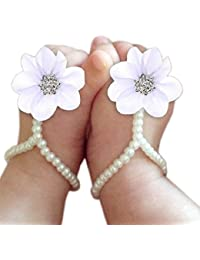 Baby Girl Pearl Chiffon Foot Flower Shoes Barefoot Sandals