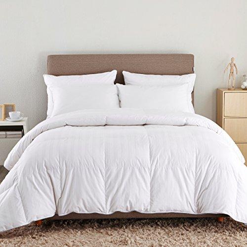 Puredown Down Comforter, Stripe White Cotton Shell 500TC,King/Cal King