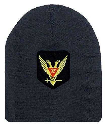 Masons Winter Hat - Standard Scottish Rite Wings UP - Masonic Black Beanie Cap with 32nd degree Symbol - One Size Fits Most Cap for Freemasons (Black) Scottish Rite Symbols