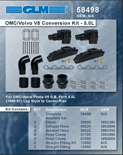 Exhaust Manifold Conversion Kit compatible with OMC Ford V8 5.0L Converts Log Style Exhaust Manifolds to the Center Rise Manifolds on V8 5.0L Marine Engines