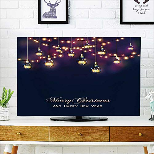 PRUNUS Dust Resistant Television Protector Christmas and New Year Card with Festive Garland Lights and Light Bulbs Vector tv dust Cover W32 x H51 INCH/TV -