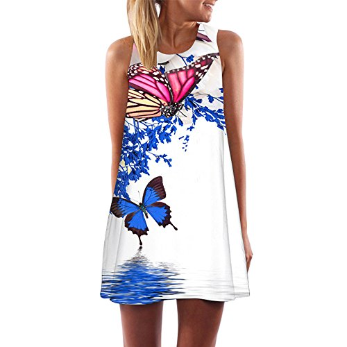 FORUU Womens Girls Vintage Boho Summer Sleeveless Beach Printed Short Mini Dress (M, White)