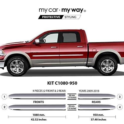 My Car My Way (Fits) Ram 1500 2009-2018 5.58′ Box Crew Chrome Body Side Molding Door Guard Moulding Cover Trim Door Protector