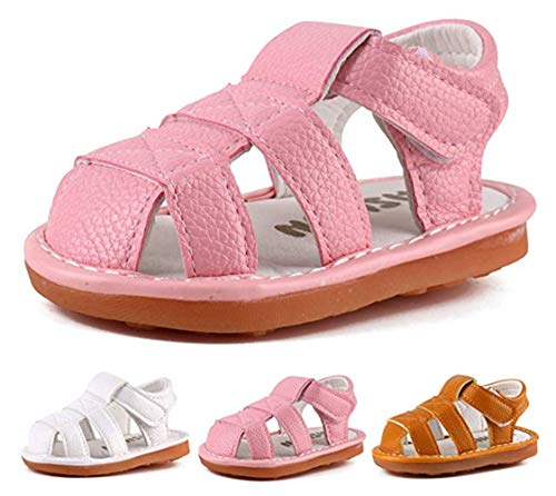 Baby Boy Girl Summer Infant Squeaky Sandals Premium Rubber Sole Closed-Toe Non-Slip Shoes Toddler First Walkers (4 M US Toddler, - Rubber Sole Sandals