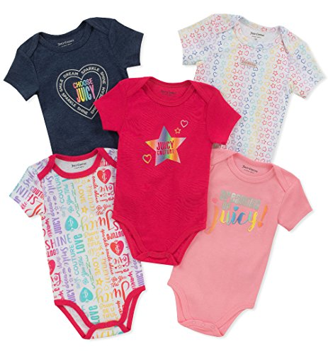Juicy Couture Baby Girls 5 Pieces Pack Bodysuits, Navy/Pink/Print, 0-3 Months