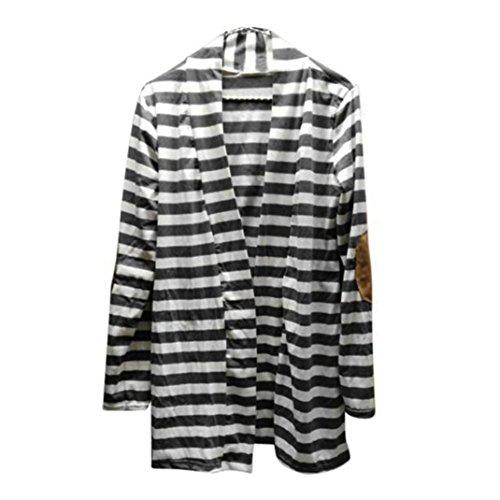 Blusas de primavera,Culater Cardigans de rayas Negro y Blanco Ligero