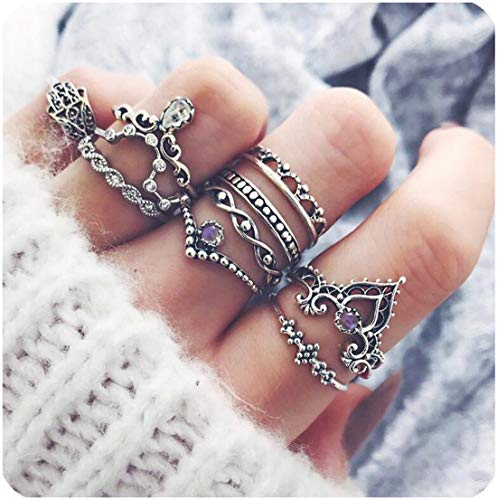 Zealmer Midi Ring Set Crown Hand of Fatima Hamsa Knuckle Ring Set...