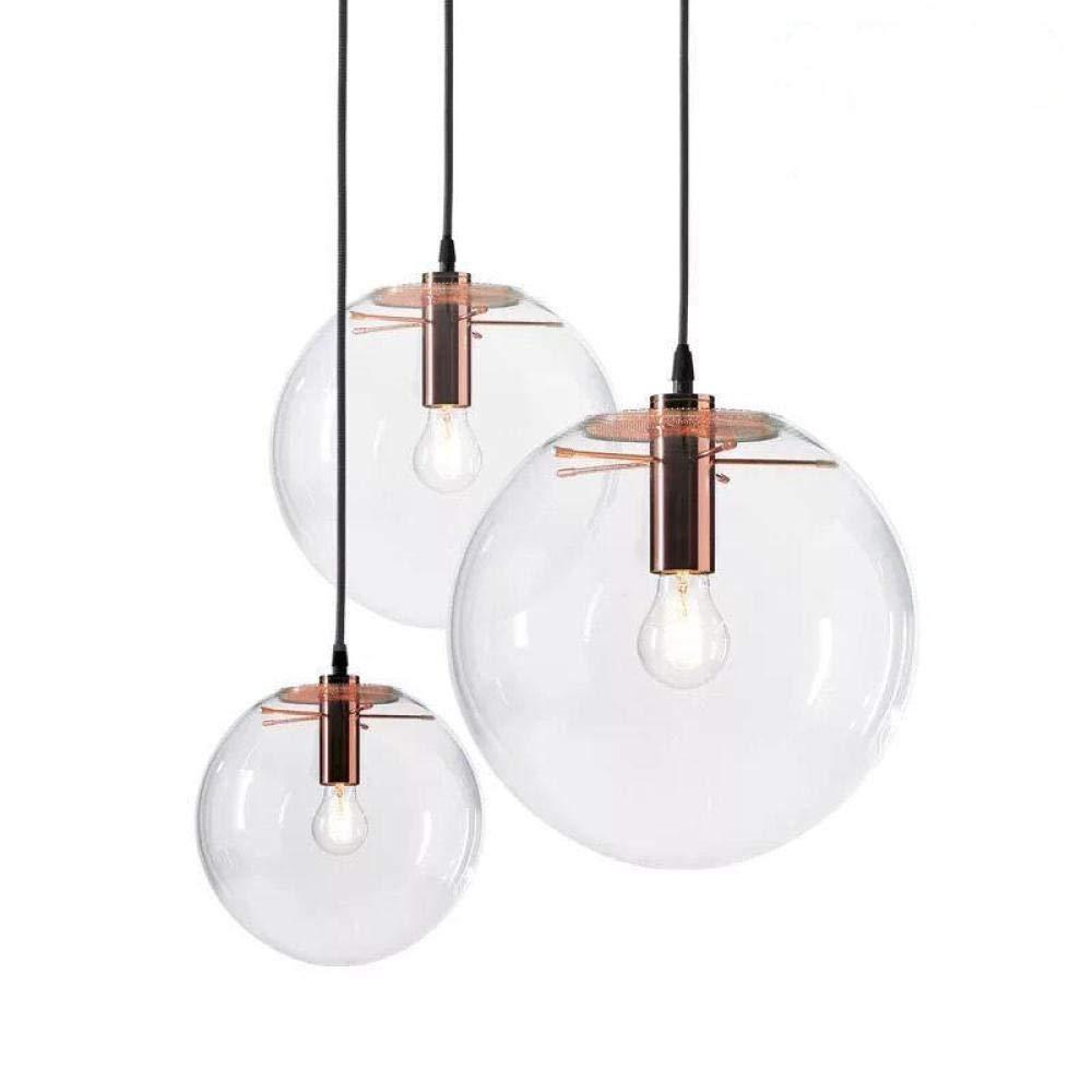 Ros¨ Gold 20cm Durchmesser Einfacher und transparenter Glaskronleuchter mit einem Kopf und einem Durchmesser von 30 cm