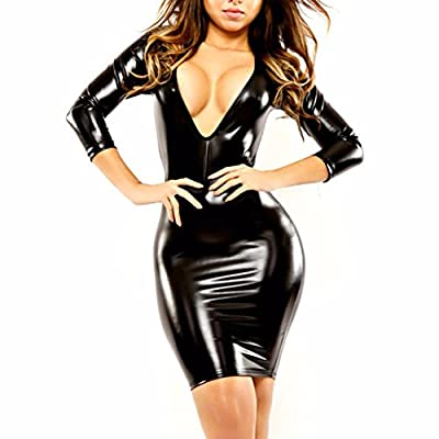 YiZYiF Sexy Women's V-neck Clubwear Black PVC Faux Leather Bandage Dress