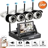 SW SWINWAY 4CH 720P HD Wireless Security Camera System LCD Monitor NVR,4PCS 720P Megapixel Wireless Wi-FI Waterproof Bullet IP Surveillance Cameras, Plug and Play,80Feet Night Vision, No Hard Drive Review