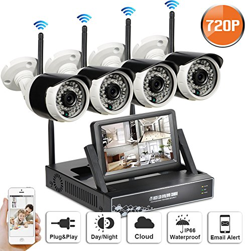 SW SWINWAY 4CH 720P HD Wireless Security Camera System LCD Monitor NVR,4PCS 720P Megapixel Wireless Wi-FI Waterproof Bullet IP Surveillance Cameras, Plug and Play,80Feet Night Vision, No Hard Drive