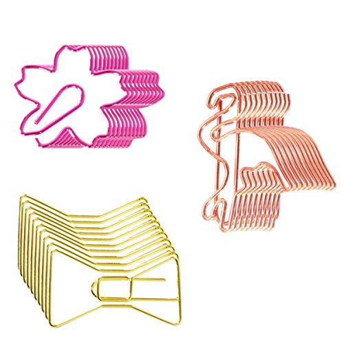 (YMhome 30pcs Binder Clips Bookmarks Plated Gold Paperclips Photo File Document Clamps for School Kitchen Home Creative Office Supplies Plating Flamingo & Bow Tie & Cherrybloss)