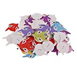 Baoblaze 50 Pieces 29x21 mm Wooden Buttons Colorful Kids Cartoon Fox Buttons Sewing Buttons Craft Buttons Scrapbooking Kids Clothes Decoration Card Making Accessories