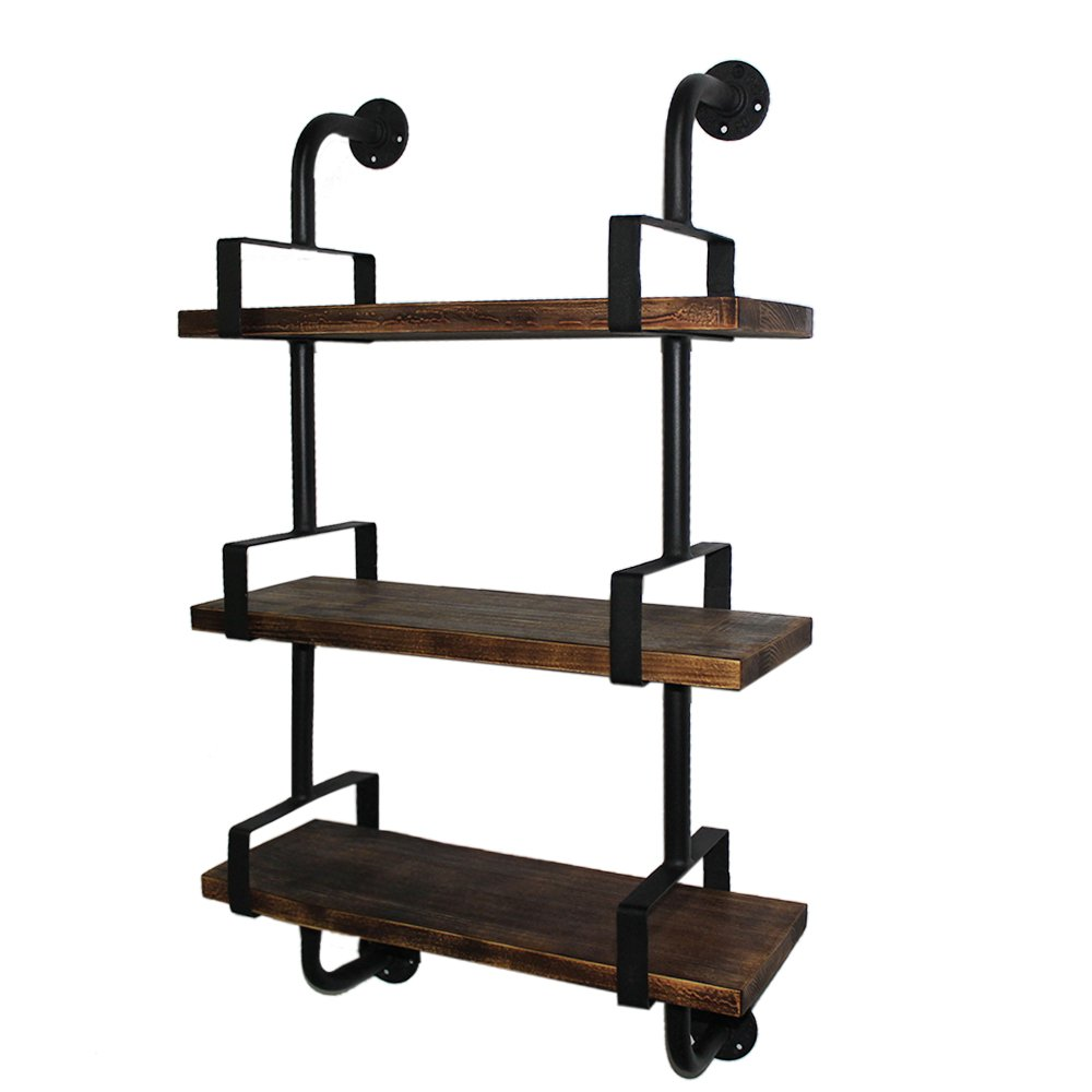 iKayaa 39'' Rustic Wall Mounted Shelves Industrial Bookcase 3-Tier Pipe Wood for Office Home Bathroom Kitchen