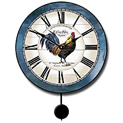 Carolina Blue Rooster Pendulum Wall Clock, Available in 5 sizes, Whisper Quiet, non-ticking