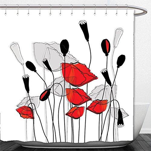 Interestlee Shower Curtain Blooming Flowers Poppy Poppies Floral Decor Bouquet Garden Branches Carnation Clove Blossom Lovely Buds Black Red and White (Red Flowered Curtains)