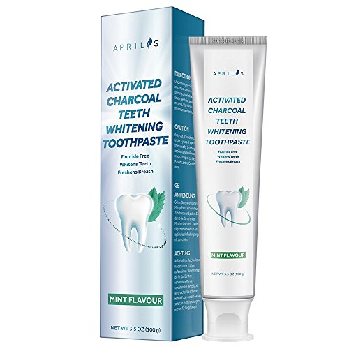 Aprilis Activated Charcoal Teeth Whitening Toothpaste | Fluoride & Peroxide Free, Removes Stains & Freshens Breath with Natural Gum Protection and Mint Flavor | 3.5 oz (100 g)