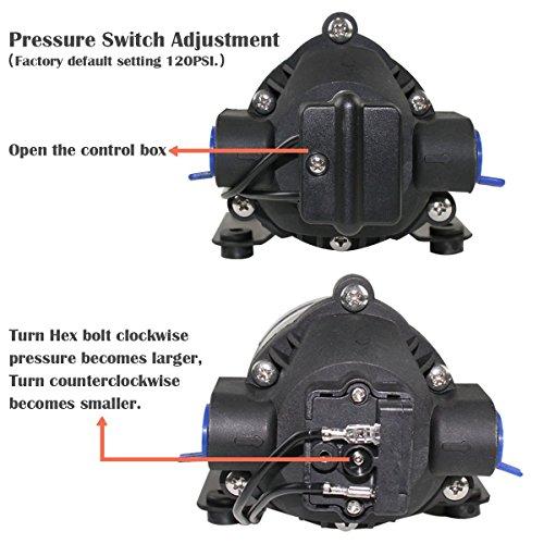 GSLOOK AC110V/115V High Pressure Diaphragm Water Pump 160PSI 8L/min, Self-priming Misting Booster Pump Sprayer for Caravan/RV/Boat/Marine by GSLOOK (Image #3)