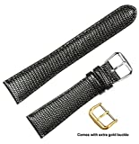 deBeer brand Lizard Grain Watch Band (Silver & Gold Buckle) - Black 18mm (Short Length)