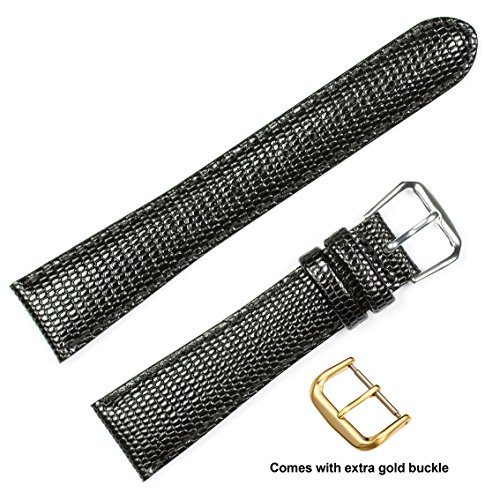 deBeer brand Lizard Grain Watch Band (Silver & Gold Buckle) - Black 20mm (Short Length) -