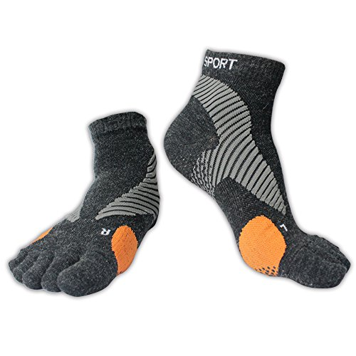 Merino Wool Blend Non-Slip Toe Socks | Running, Hiking, Cycling | Comfortable, Breathable & Warm | Men & Women (Black, -
