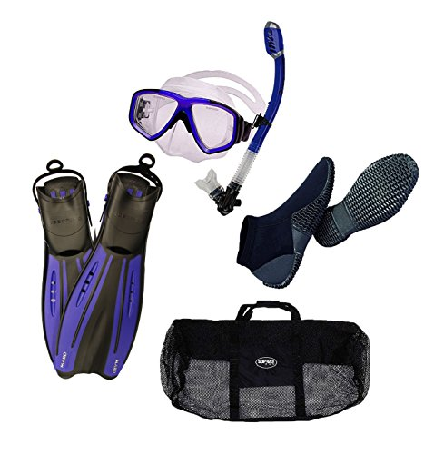 Oceanic Pro Snorkeling Set Blue/Clear Mask Dry ()