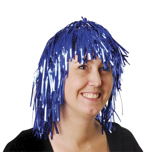 BLUE TINSEL FOIL PARTY WIG , SOLD BY 26 PIECES - Long Tinsel Wig