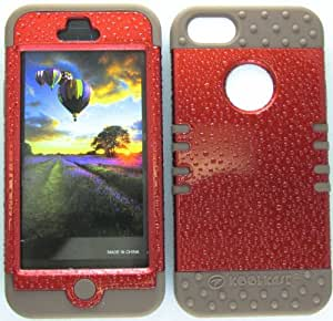 CellTx Shockproof Hybrid Case For Apple (iphone 5, 5S) and Stylus Pen, Brown Soft Rubber Skin with Hard Cover (Rain Drops, Red) AT&T, T-Mobile, Sprint, Verizon, Cricket, Virgin Mobile, Boost Mobile by mcsharks