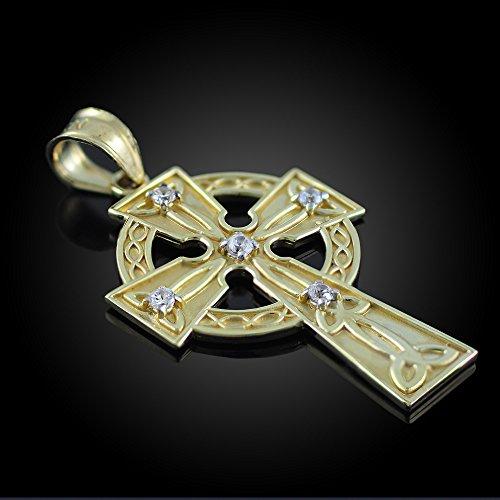 Petits Merveilles D'amour - Pendentif - 10 ct Or 471/1000 Celtique Celtique Croix Pendentif Diamant