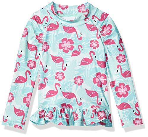 Flap Happy Baby Girls UPF 50+ Ruffle Rash Guard, Flamingo Paradise, 18M ()