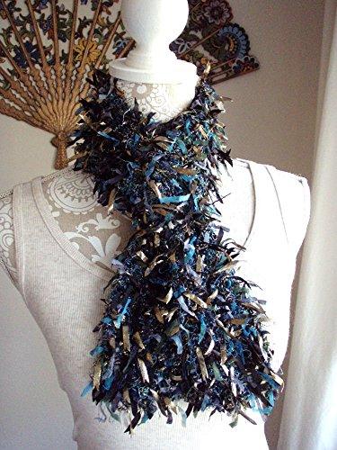 Teal Gold Black Boa Style Knit (Knit Boa)