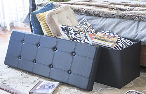 Finnhomy Folding Storage Ottoman Bench, Toy and Shoe Chest Faux Leather Seat & Foot Rest, 43'' Folding Storage Bin with Turfed Top, Black - Leg Faux Leather Bench