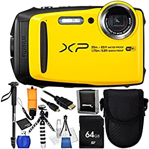 """Fujifilm FinePix XP120 (Yellow) 10PC Accessory Bundle - Includes 64GB SD Memory Card + Floating Wrist Strap + Point & Shoot Carrying Case + 72"""" Monopod + Micro HDMI to HDMI Cable + MORE"""