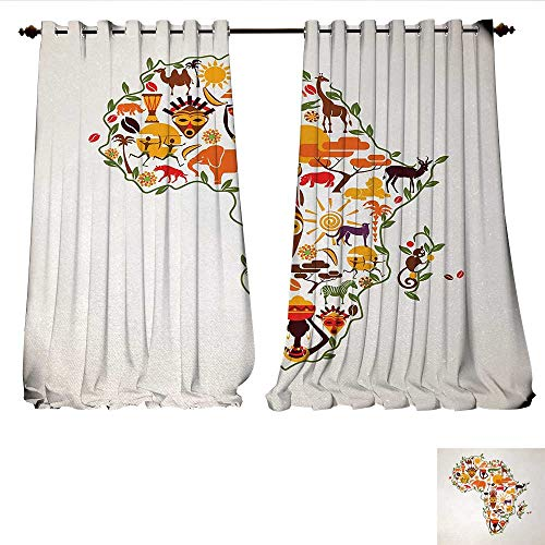 WinfreyDecor Room Darkening Wide Curtains Africa Travel Map Plan Traditional Objects Continental Ethnic Culture Arts Craft Print Customized Curtains W72 x L108 Multi