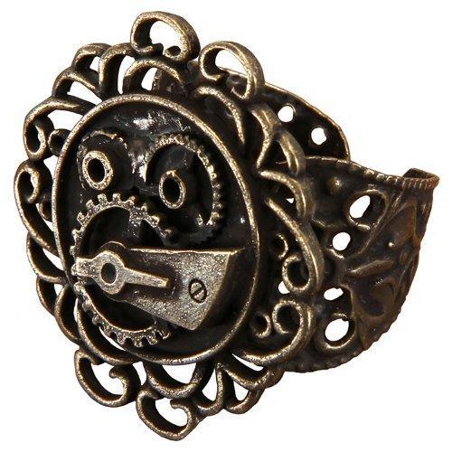 Antique Single Gear Steampunk Ring - Adult Std.