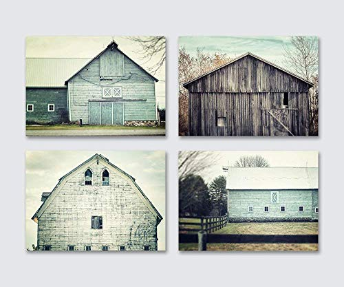Rustic Farmhouse Decor Discounted Set of 4 5x7 Aqua and Teal Barn (Not Framed) Prints, Fixer Upper Home Decor Wall Art Gifts for Women.