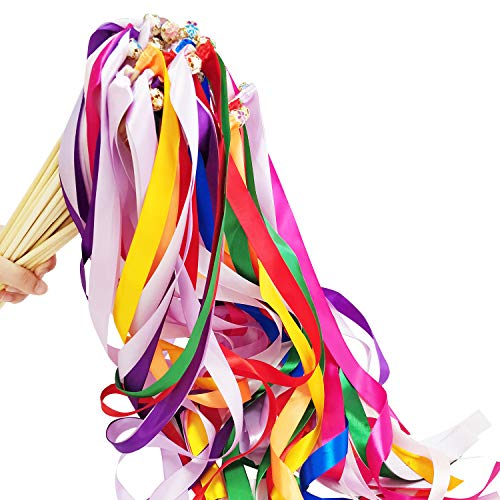 Hangnuo 30 Pack Ribbon Wands Wedding Streamers with Bells, Fairy Stick Wand Party Favors for Baby Shower Holiday Celebration, Mix Color - Ribbon Hand
