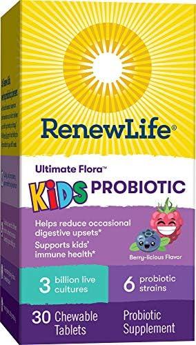 51n uE8MbTL. AC - Renew Life Kids Probiotics 3 Billion CFU Guaranteed, 6 Strains, Shelf Stable, Gluten Dairy & Soy Free, 30 Chewable Tablets, Ultimate Flora Kids Probiotics Berry-licious (Packaging May Vary)