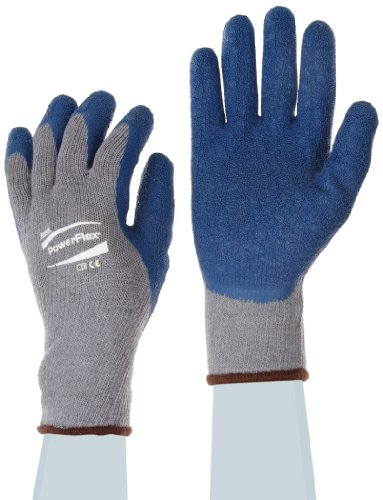 Gloves Cotton Ansell (Ansell Powerflex 80-100 Natural Rubber Latex Glove, Coated on Gray Poly/Cotton Liner, Large, Size 9 (Pack of 1 Pair))