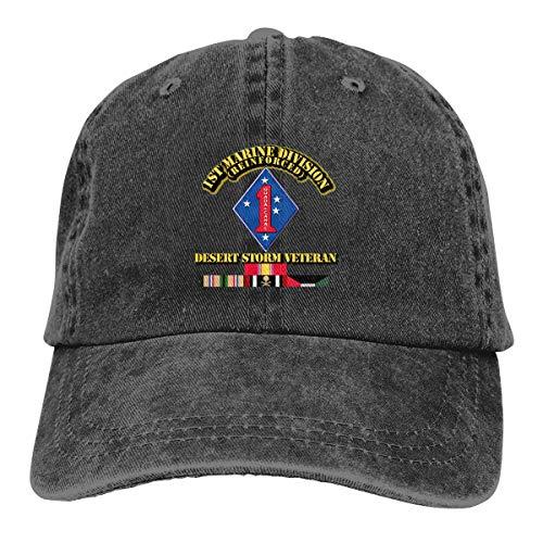 USMC - 1st Marine Division - Desert Storm Veteran Summer Cool Heat Shield Unisex Adult Cowboy Hat (Hat Division Marine)