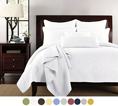 Channel Stitch Quilt - Willow Grove Channel Quilt Set, King, White