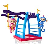 WowWee Fingerlings Playset Bar/Swing Playground with 2 Baby Monkey Toys, Liv (Blue) and Simona (Bubblegum Pink)