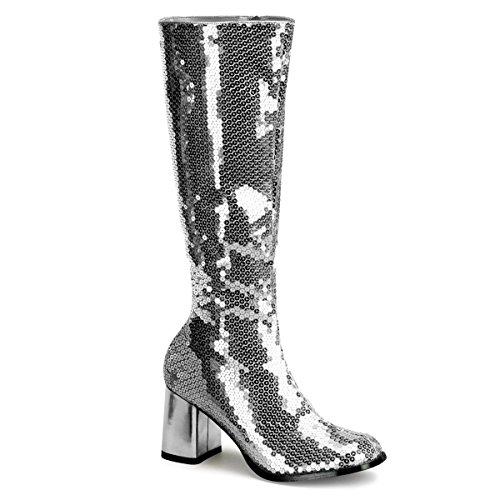 Spectacular-300SQ - Original Bordello Burlesque Kniestiefel mit Pailletten in Silber und komfortablem Block-Absatz