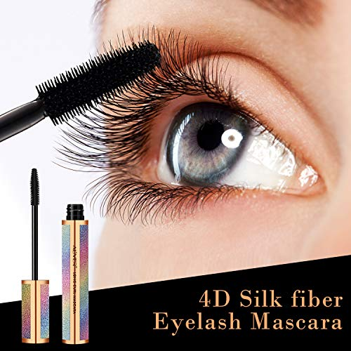 4D Silk Fiber Lash Mascara, Mascara Black Volume and Length Lasting All Day, Waterproof Mascara Lengthening No Clumping, No Smudging & Easy to Remove