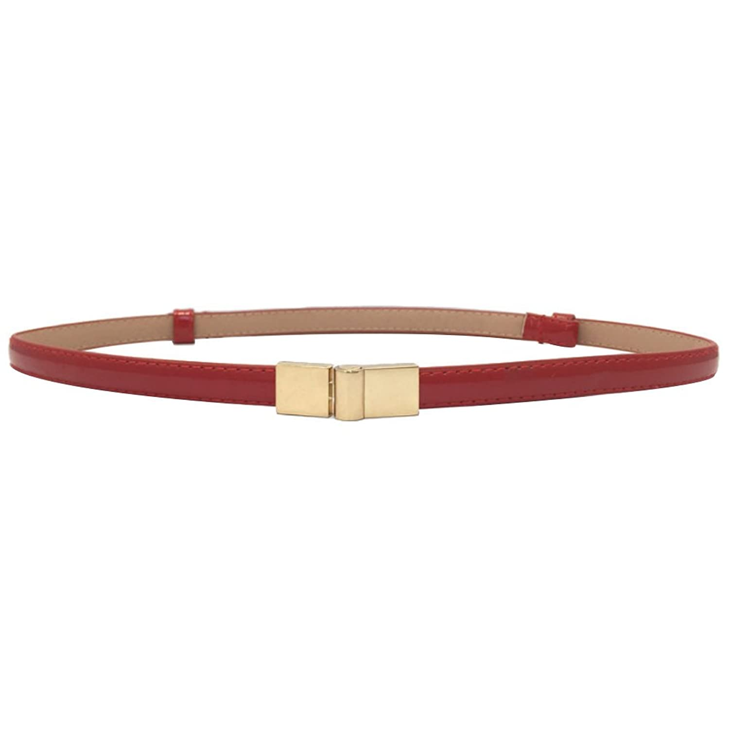 Deercon Women Skinny Waist Belt Leather Alloy Buckle Waistband