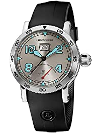 Time Master Mens Date Grey Face Retrograde Day Black Rubber Strap Swiss Automatic Watch CH-8143-WH